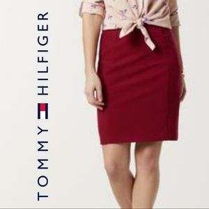 Tommy Hilfiger Red Sateen Pencil Skirt Small Logo